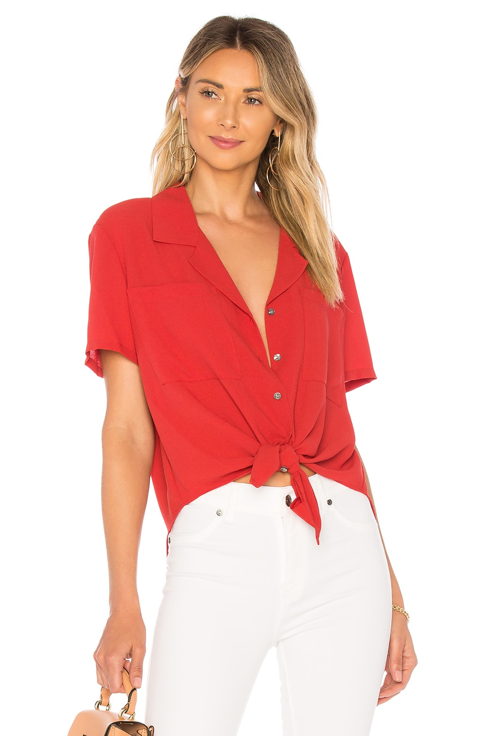 SS Tie Front Button Down Blouse