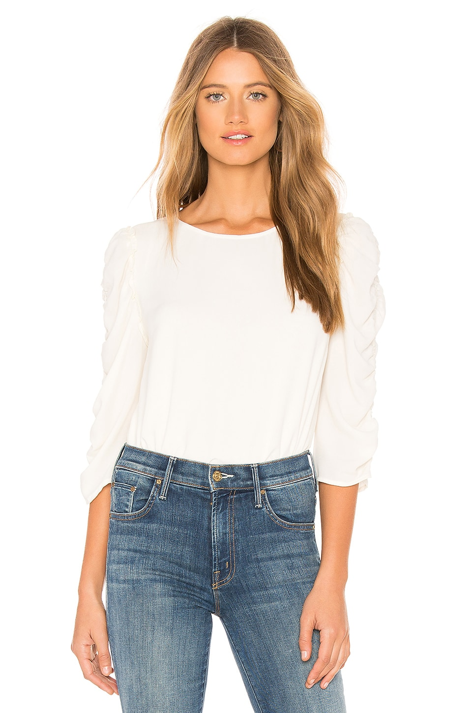 1. STATE Long Sleeve Ruched Sleeve Blouse in Soft Ecru