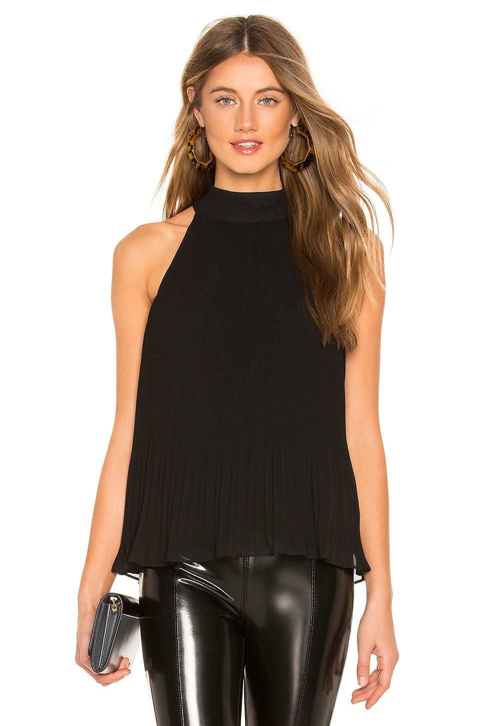 1. STATE Halter Tie Pleated Top in Rich Black