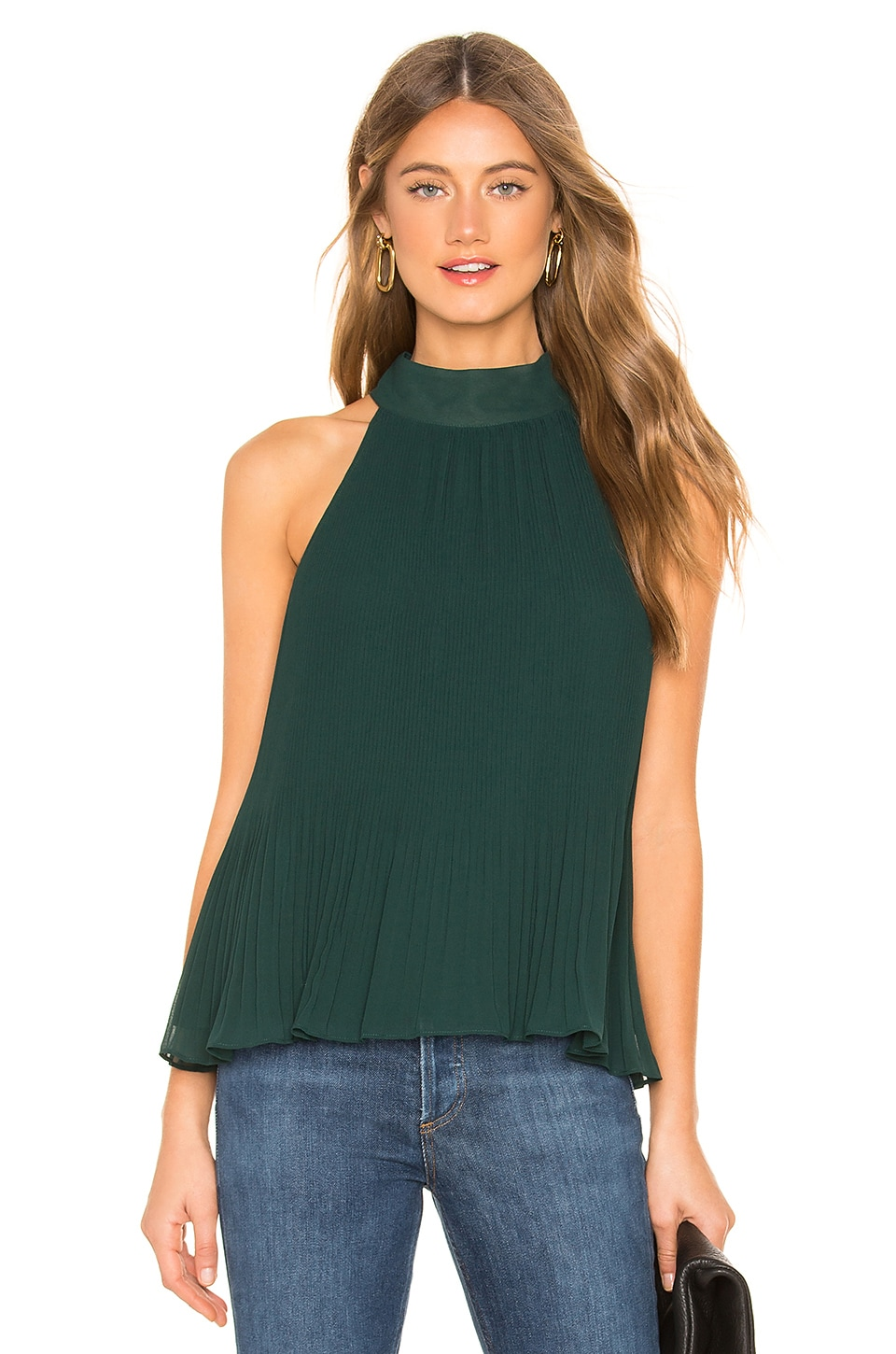 1. STATE Halter Tie Pleated Blouse in Cypress Pine