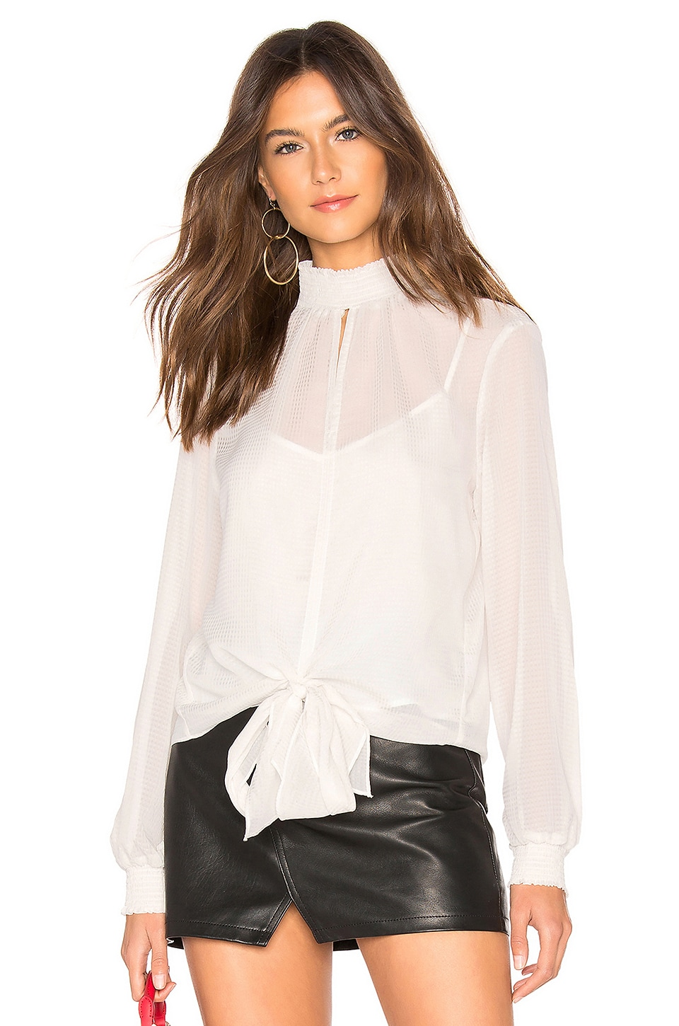 1. STATE Long Sleeve Smocked Neck Sheer Check Blouse in Ecru