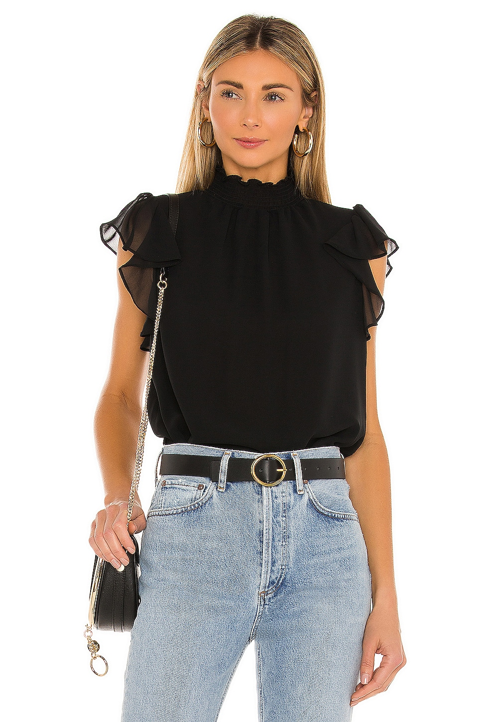 1. STATE Flutter Sleeve Top en Rich Black