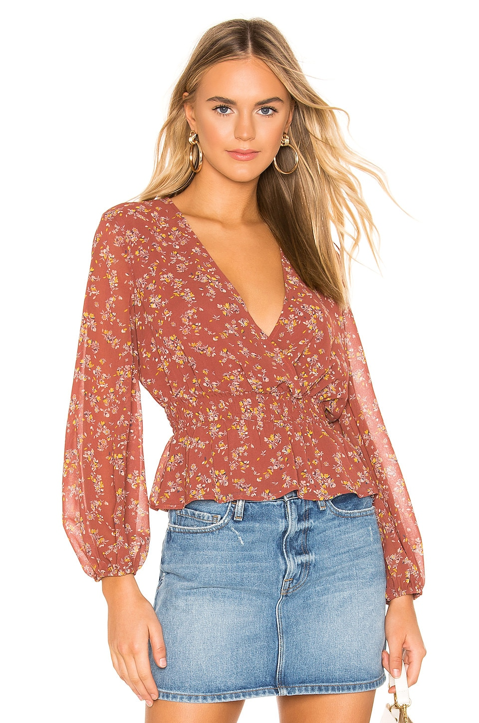 1. STATE Smocked Waist Heritage Bouquet Blouse in Terra Earth