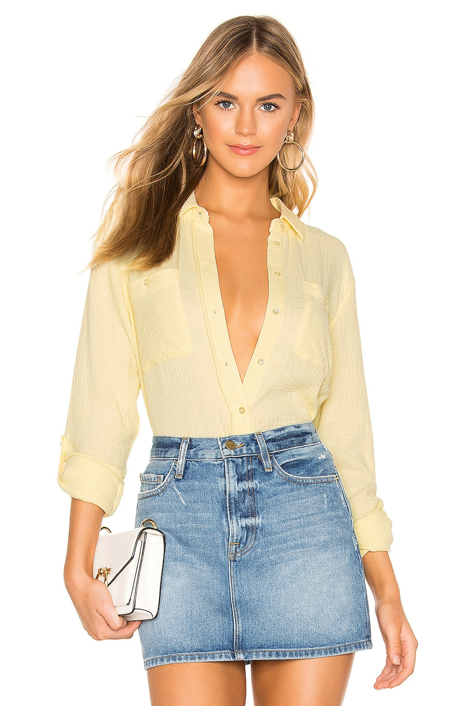 1. STATE Patch Pocket Roll Tab Double Gauze Top in Lemon