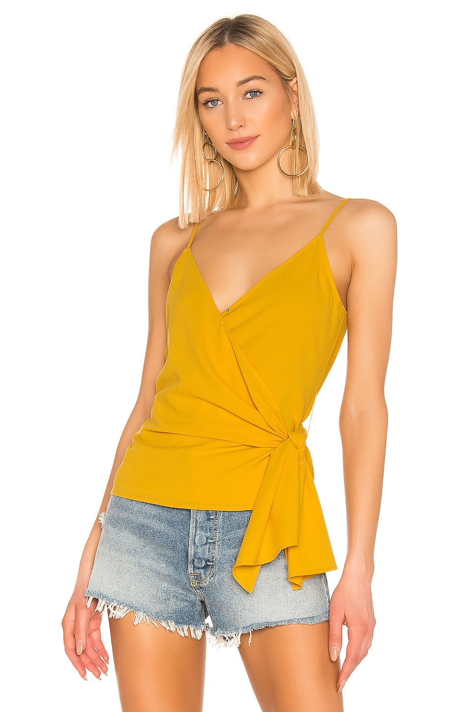 1. STATE Wrap Front Knot Detail Top in Golden Sun