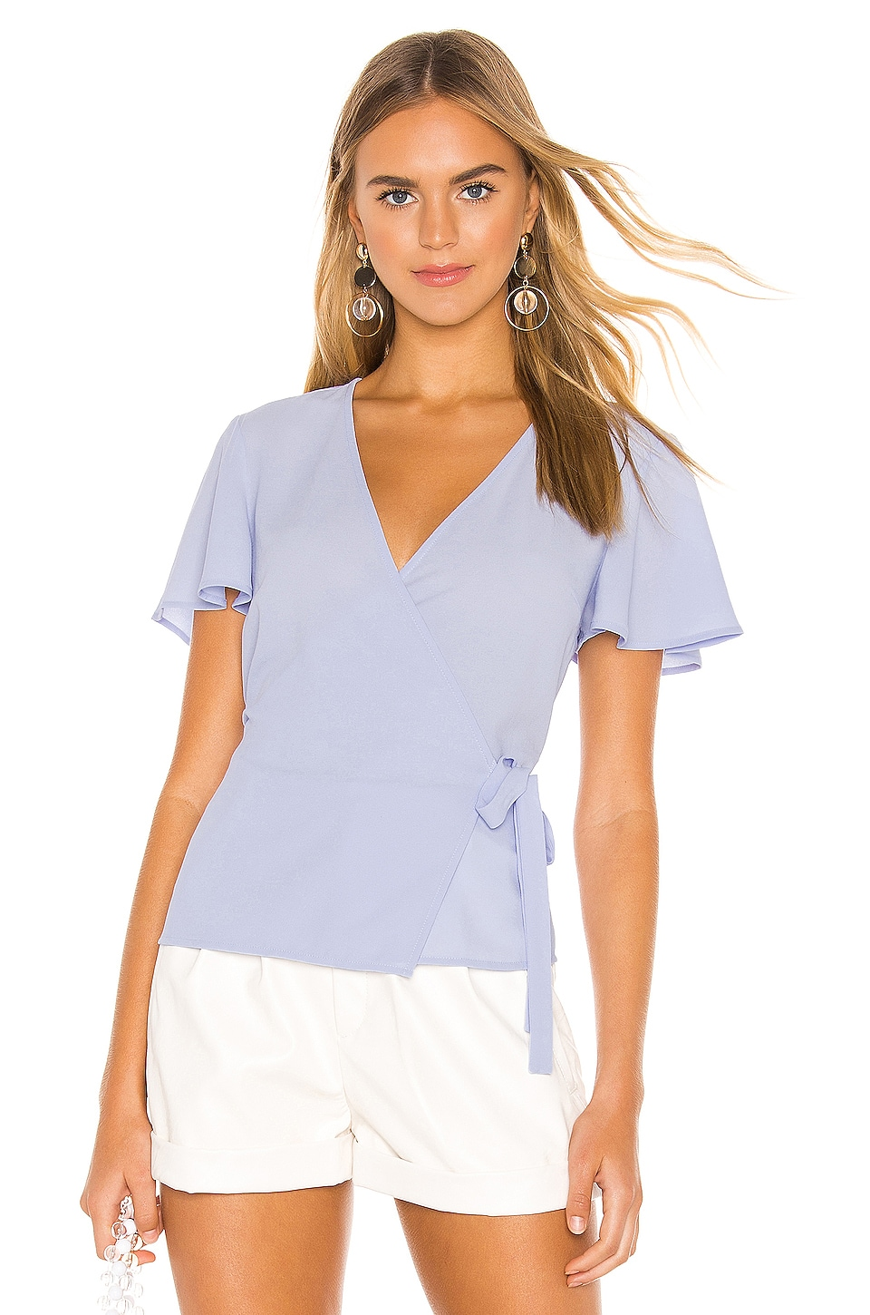 1. STATE Short Sleeve Wrap Front Flounce Sleeve Blouse in Opal Waters