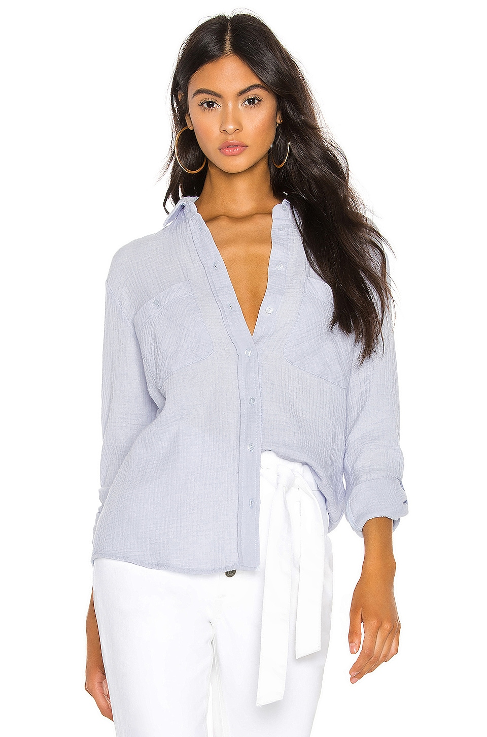 1. STATE Patch Pocket Roll Tab Button Down in Opal Waters
