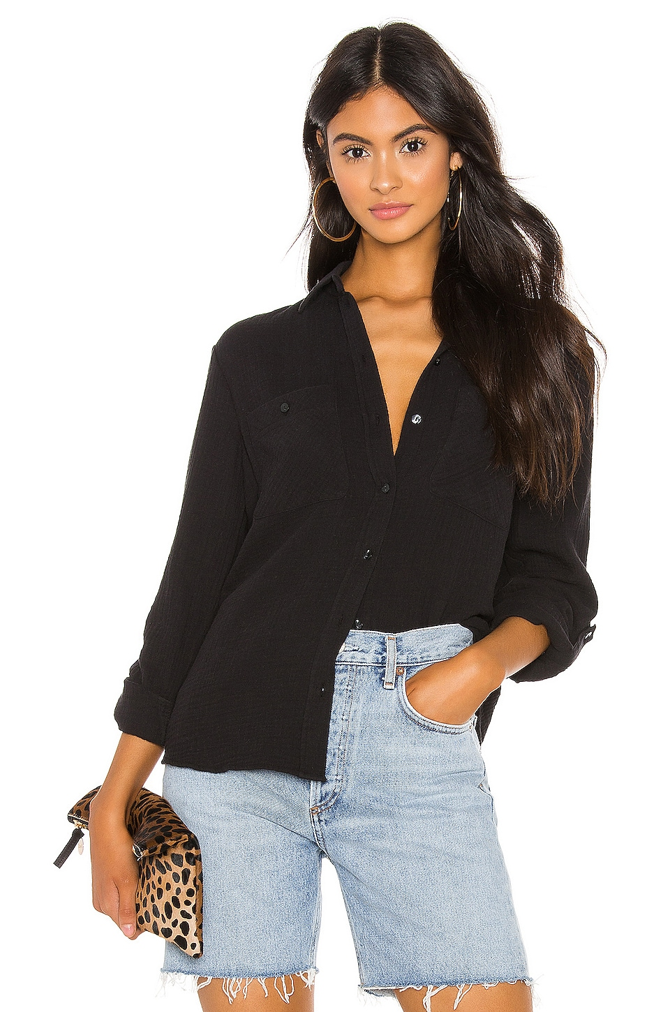 1. STATE Patch Pocket Roll Tab Button Down in Rich Black