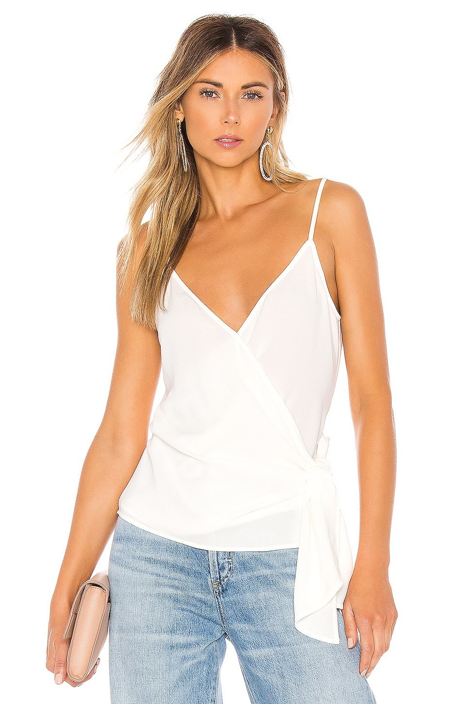 1. STATE Wrap Front Knot Detail Blouse in Soft Ecru