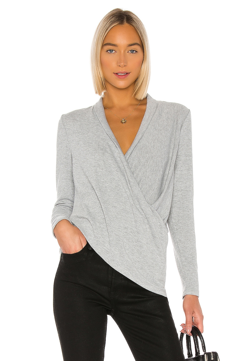 1. STATE Cross Front Cozy Knit Top in Silver Heather