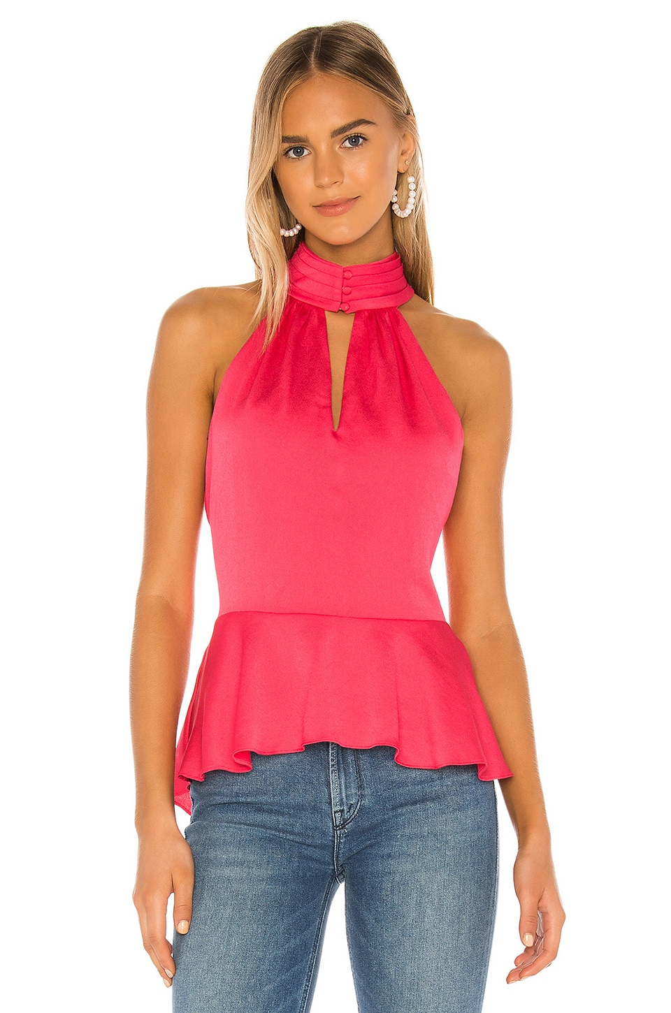 1. STATE Smocked Neck Rumple Hammered Blouse in Retro Pink