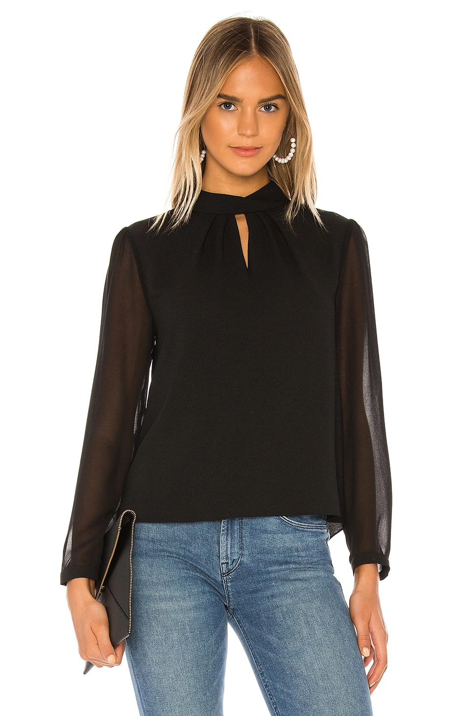 1. STATE Sheer Sleeve Keyhole Blouse in Rich Black