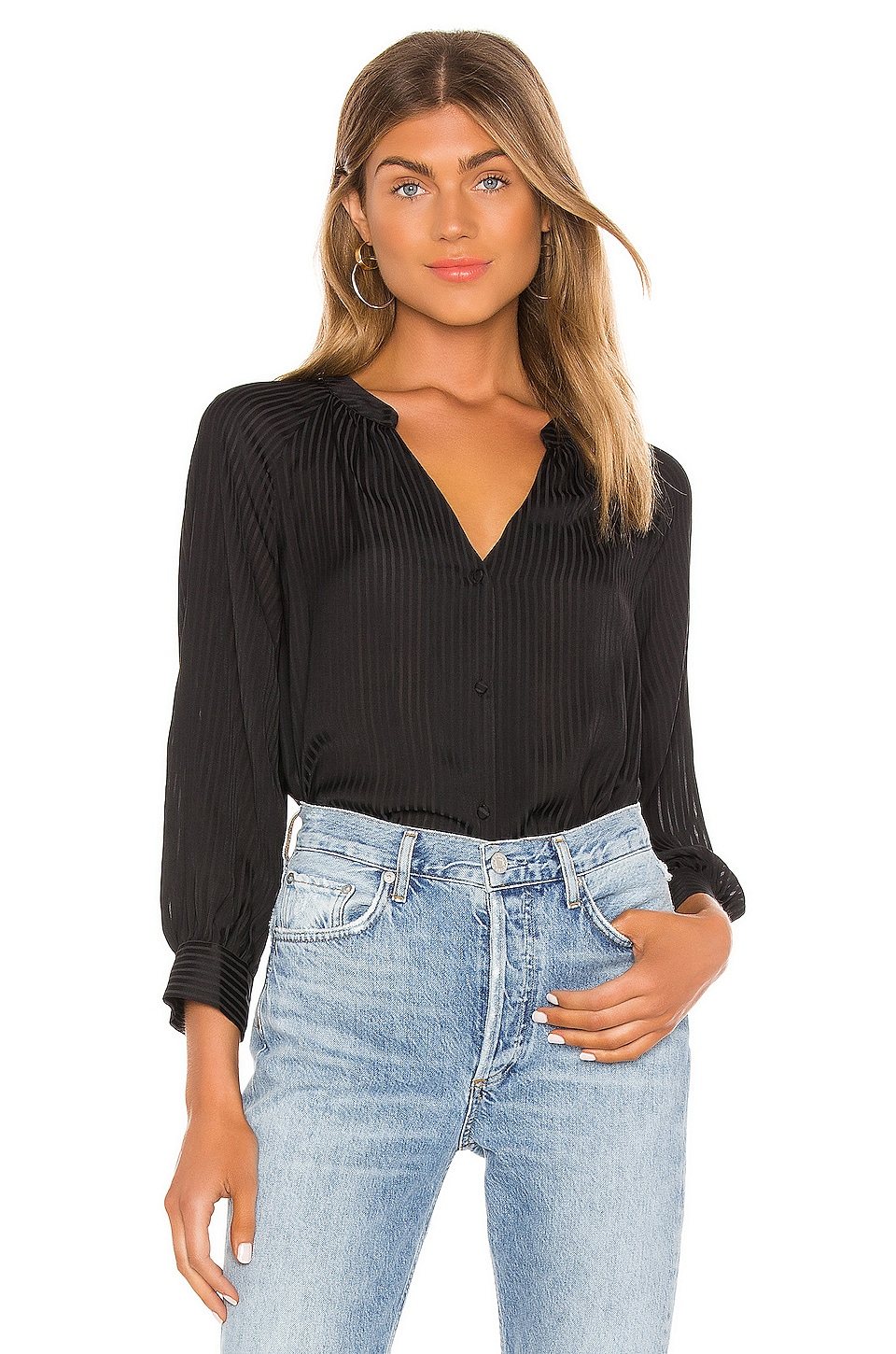 1. STATE Shadow Stripe Button Down en Rich Black