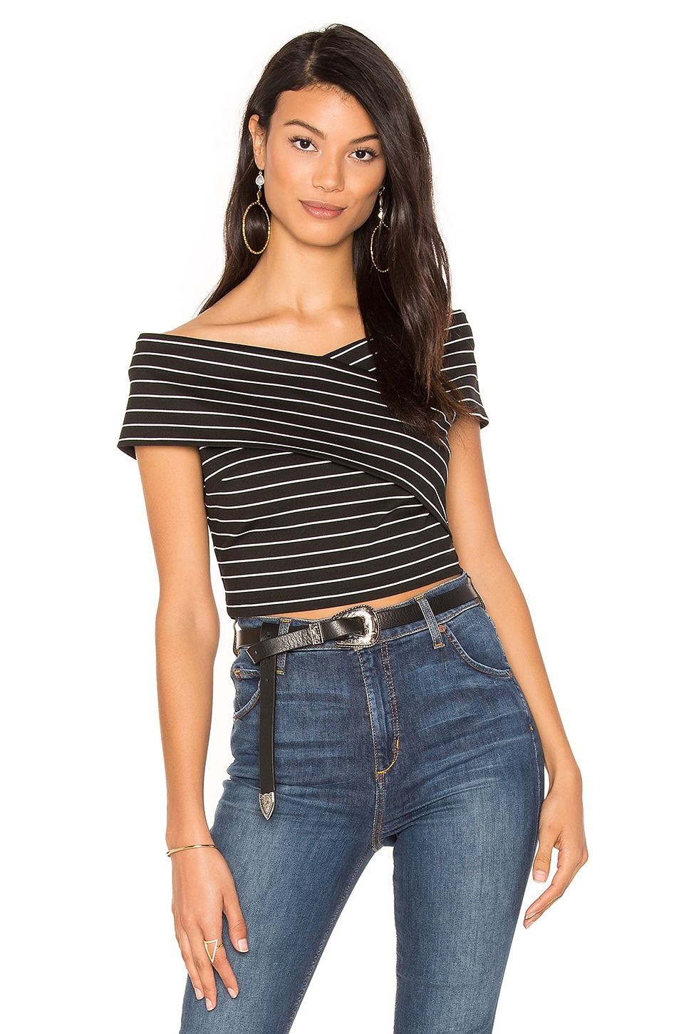 1. STATE Off Shoulder Wrap Top in Rich Black