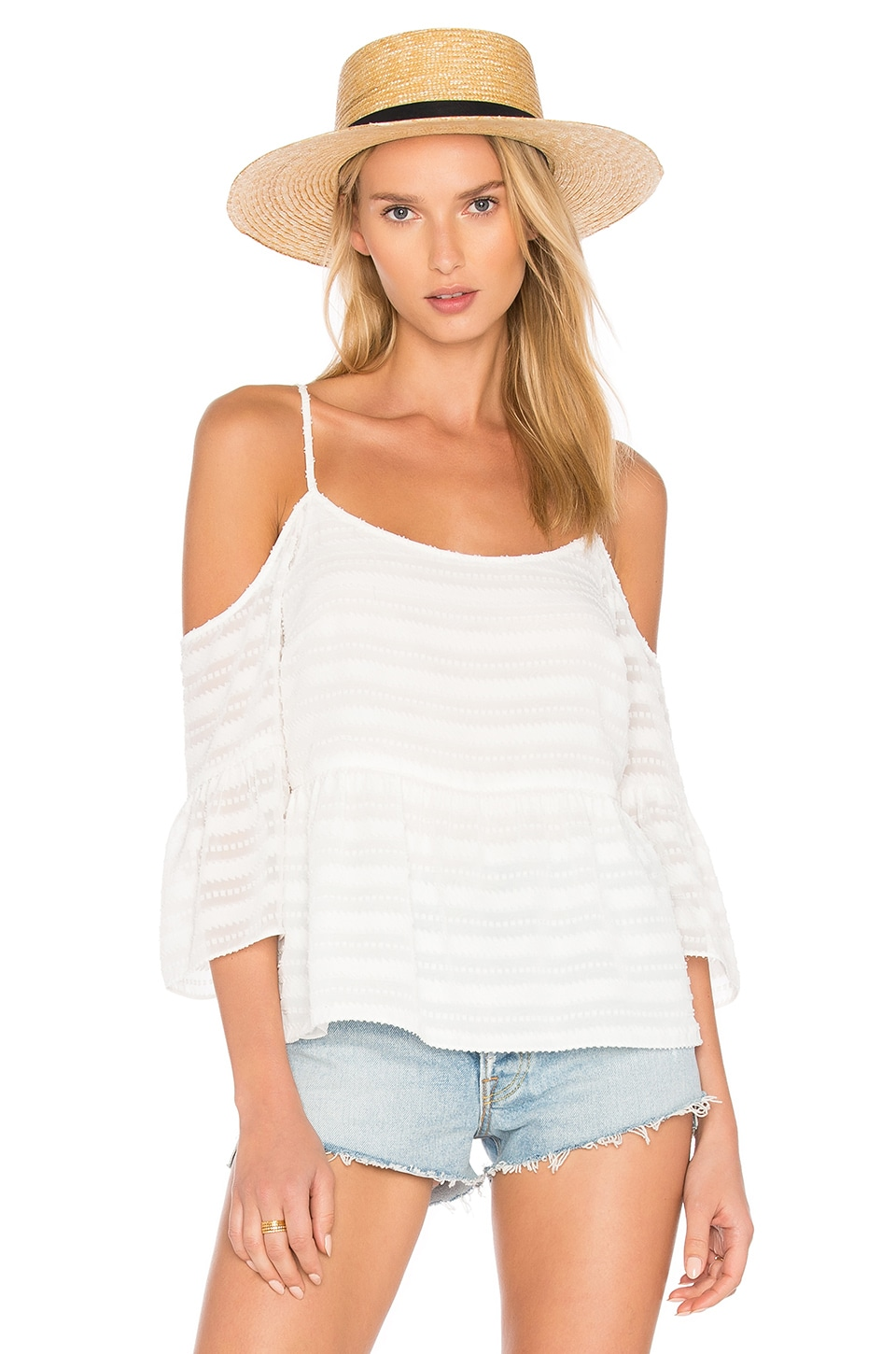 1. STATE Cold Shoulder Ruffle Sleeve Blouse in Cloud