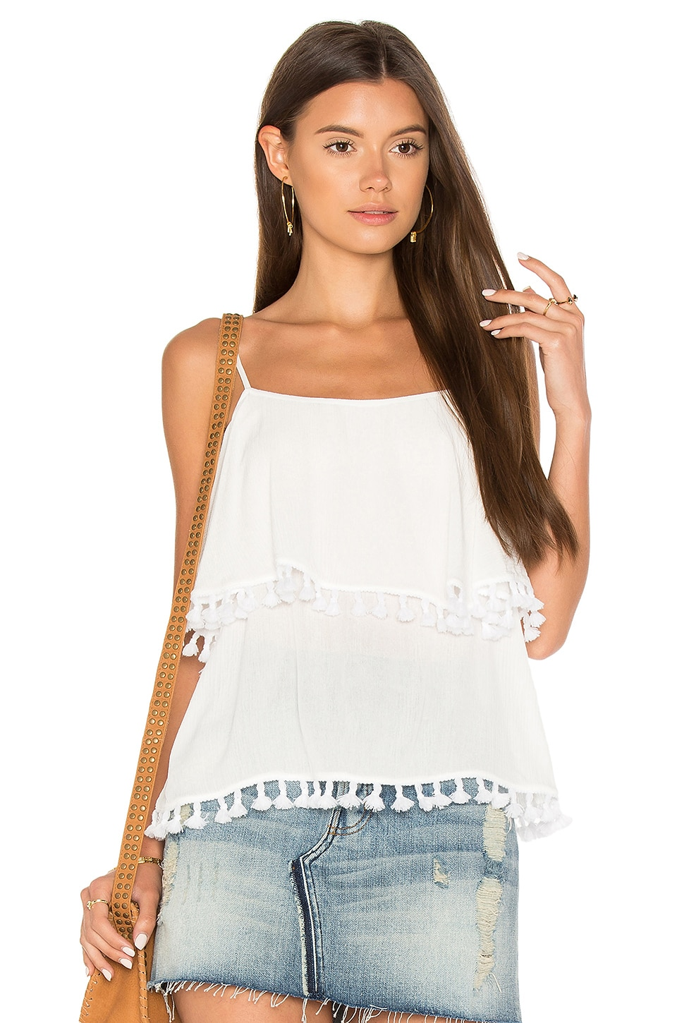 Spaghetti Strap Pop Over Top With Tassels
