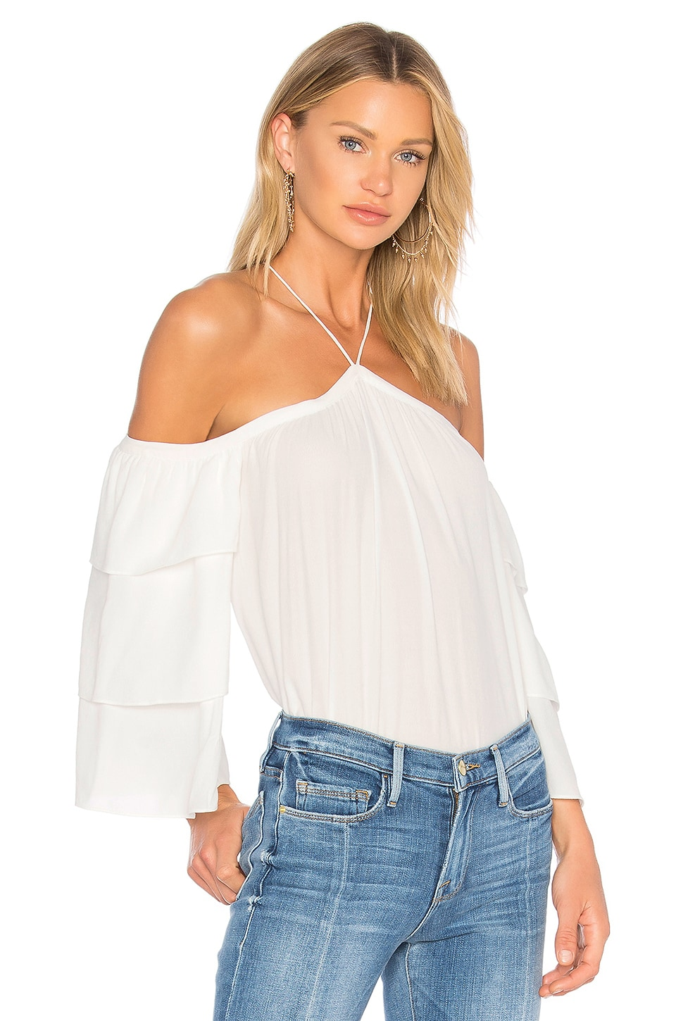 Cold Shoulder Tiered Sleeve Blouse