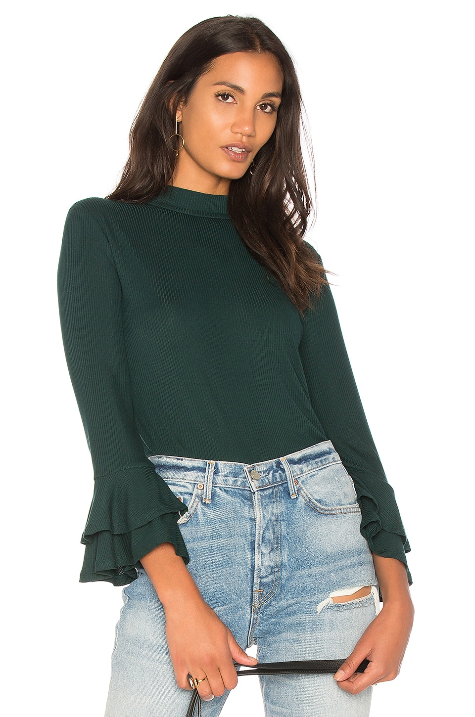 Mock Neck Top With Double Ruffle Cuff