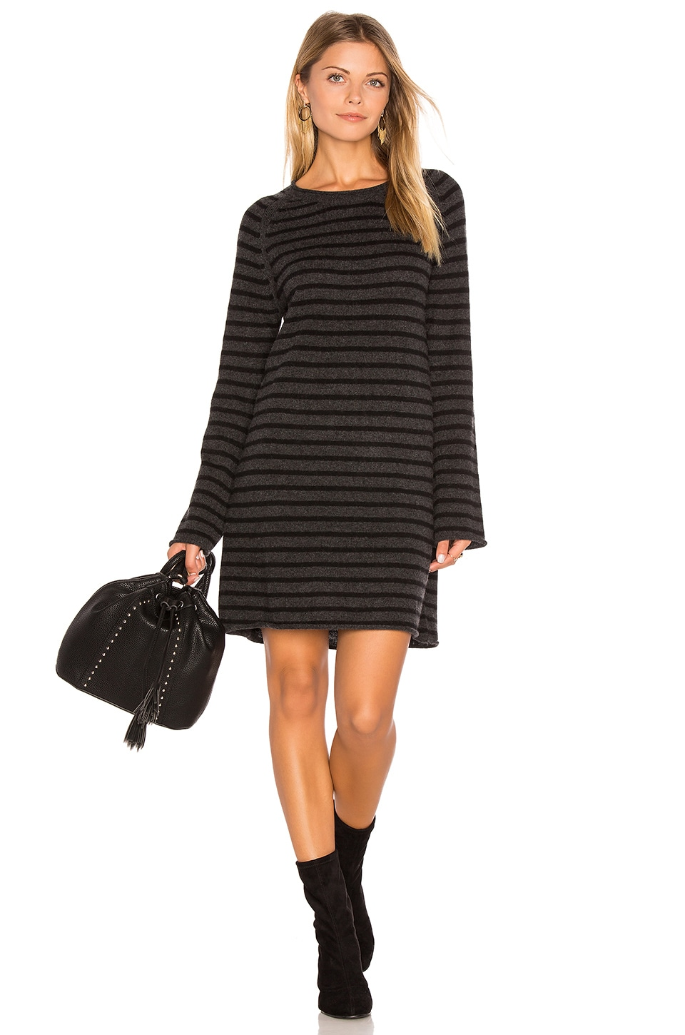 27 miles malibu Dita Bell Sleeve Sweater Dress in Shadow & Black