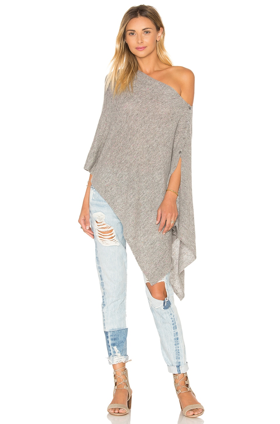 27 miles malibu Chumash Crop Poncho in Granite
