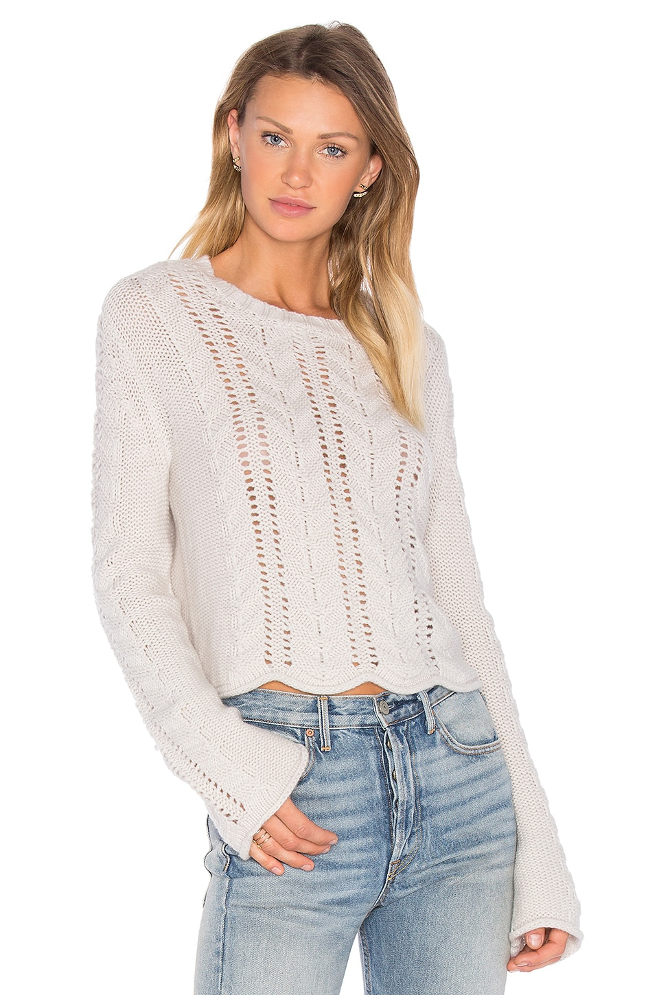 27 miles malibu Beyonce Bell Sleeve Crop Sweater in Birch