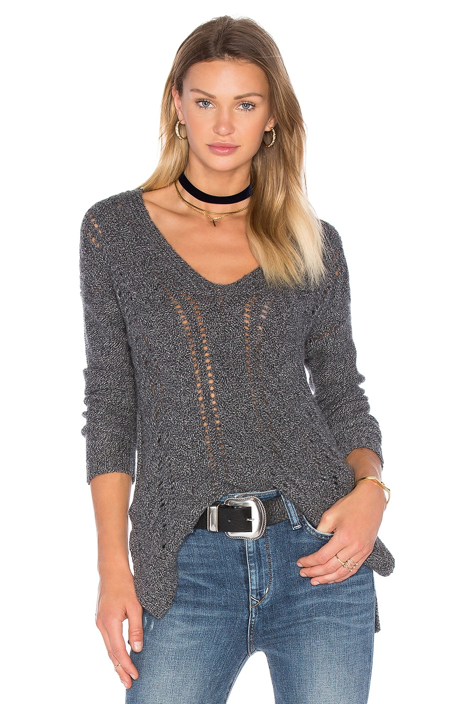 27 miles malibu Modanna V Neck Sweater in Pepper