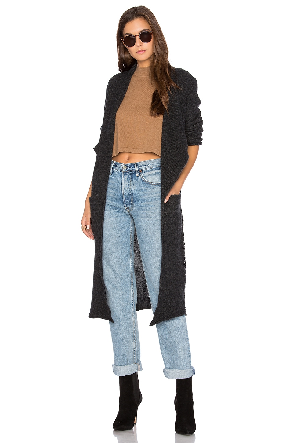 27 miles malibu Naida Long Cardigan in Shadow