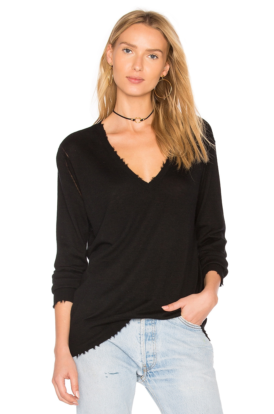 27 miles malibu Bale Boyfriend V Neck Sweater in Black
