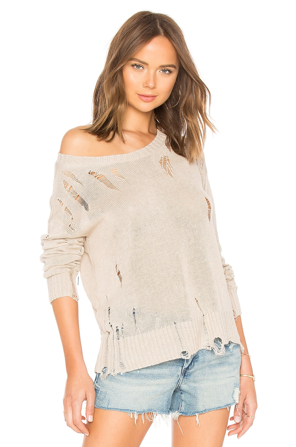 Evalyn Distressed Crew Neck Sweater