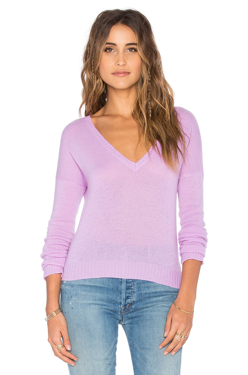 27 miles malibu V Neck Crop Sweater in Violet