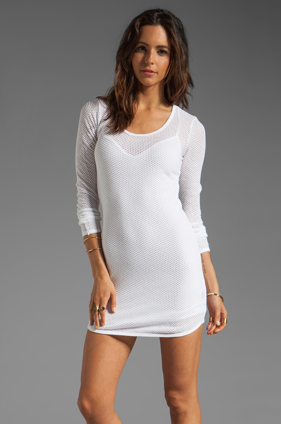291 Circle Mesh Shaped Hem Mini Dress in White
