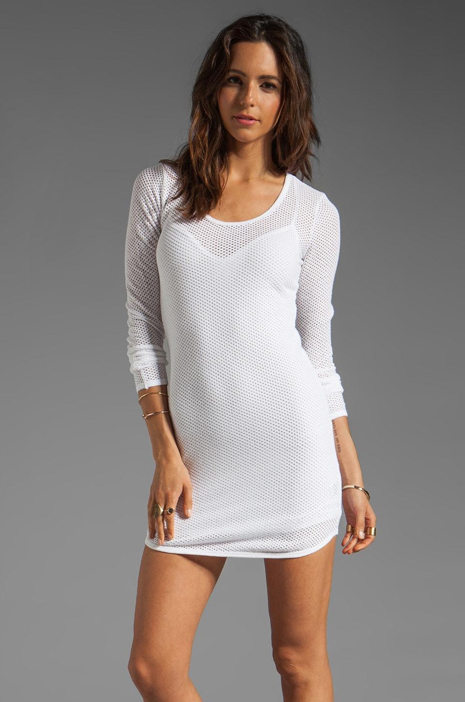 291 Circle Mesh Shaped Hem Mini Dress in White