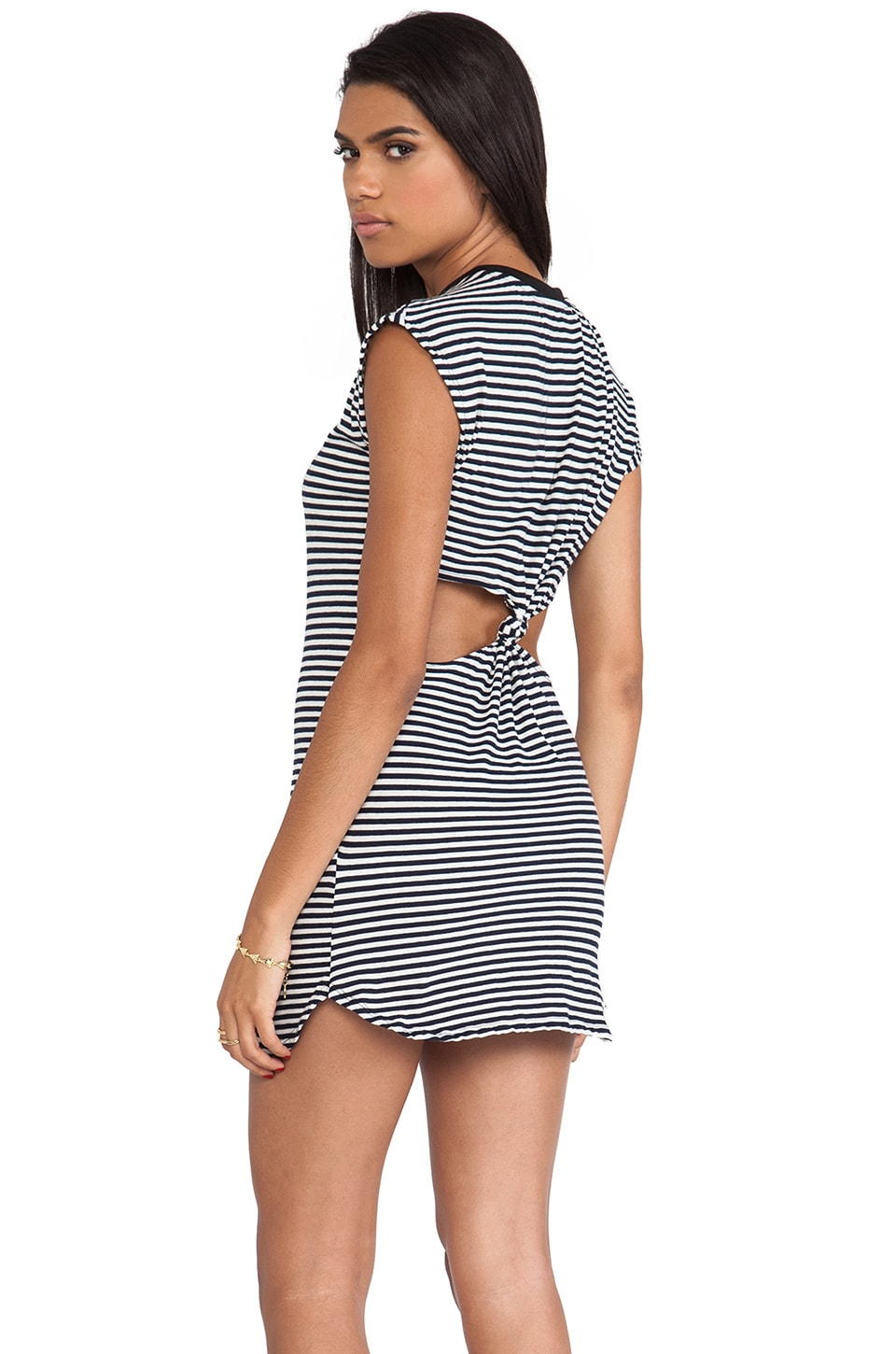 291 Short Dress with Knot Back in Stripe