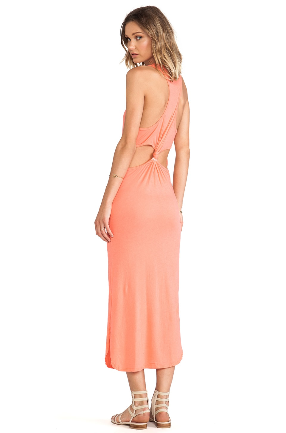 291 Cut-Out Back Knot Maxi Dress in Coral