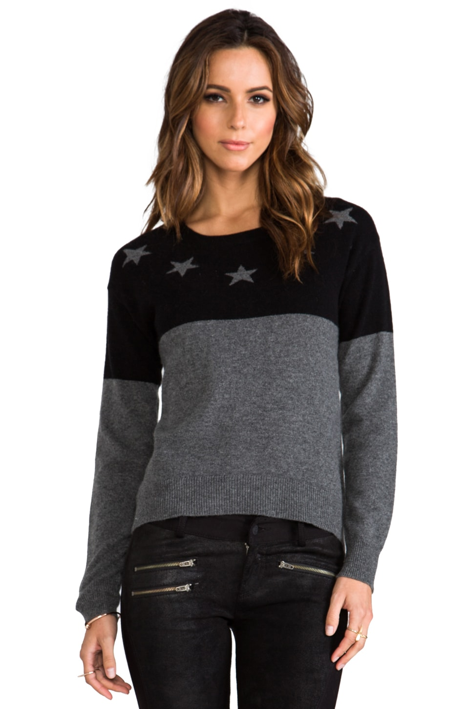 291 Cashmere Neck Star Uneven Hem Sweater in Black