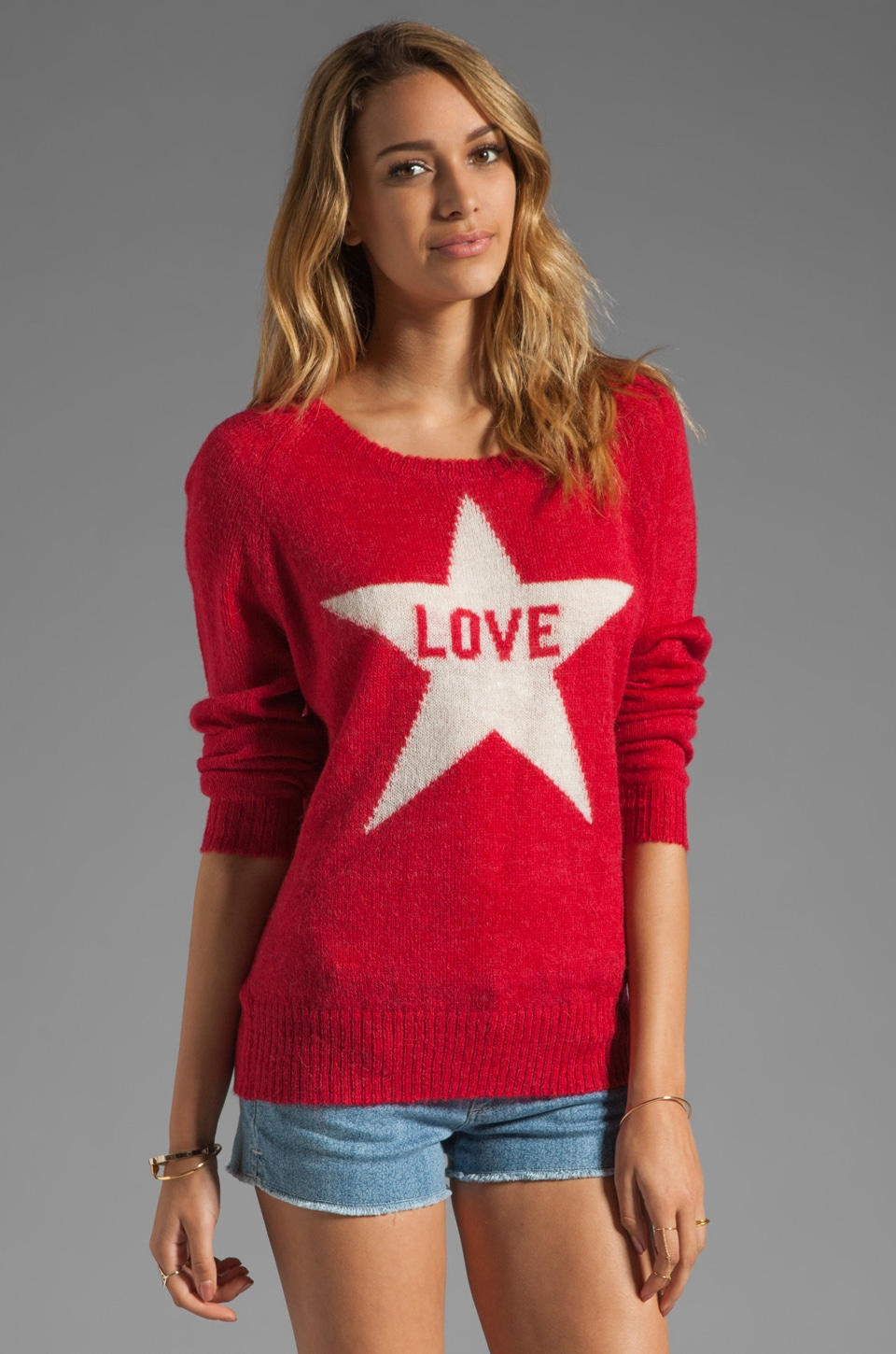 291 Light Weight Love Sweater in Red
