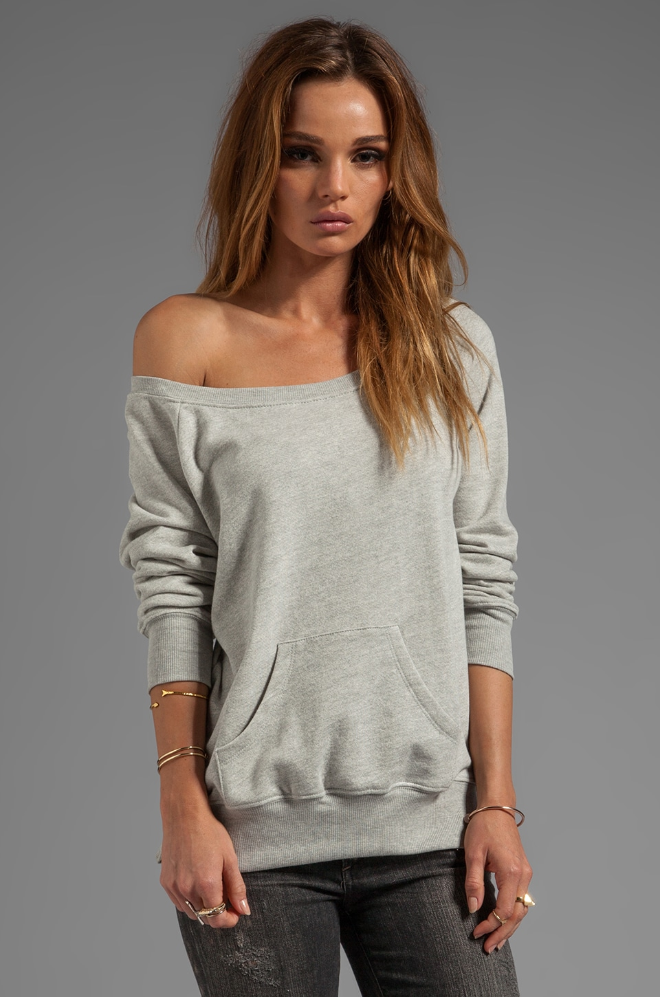 291 Off the Shoulder Sweatshirt with Zips in Heather Grey