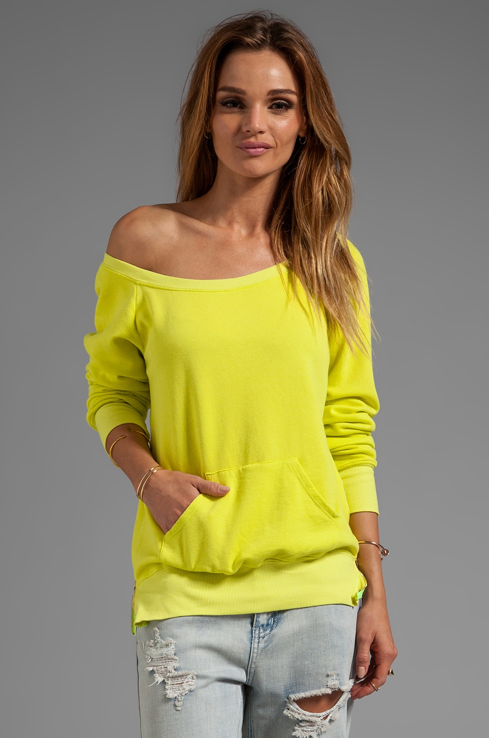 291 Off the Shoulder Sweatshirt with Zips in Tart
