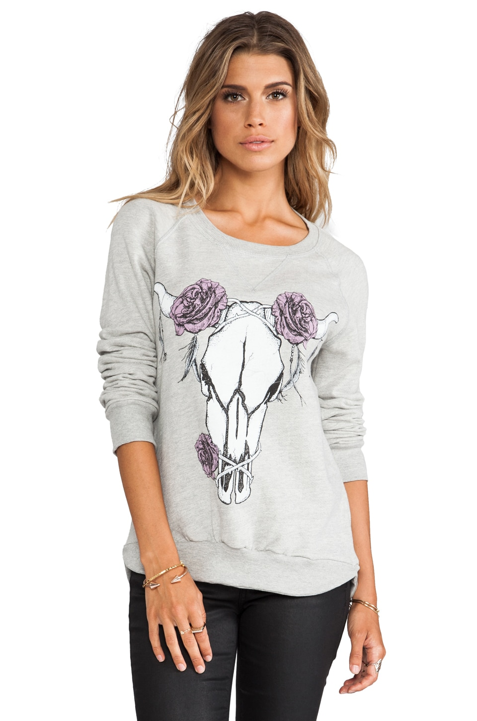 291 Bull Rose Pullover Sweatshirt in Heather Grey