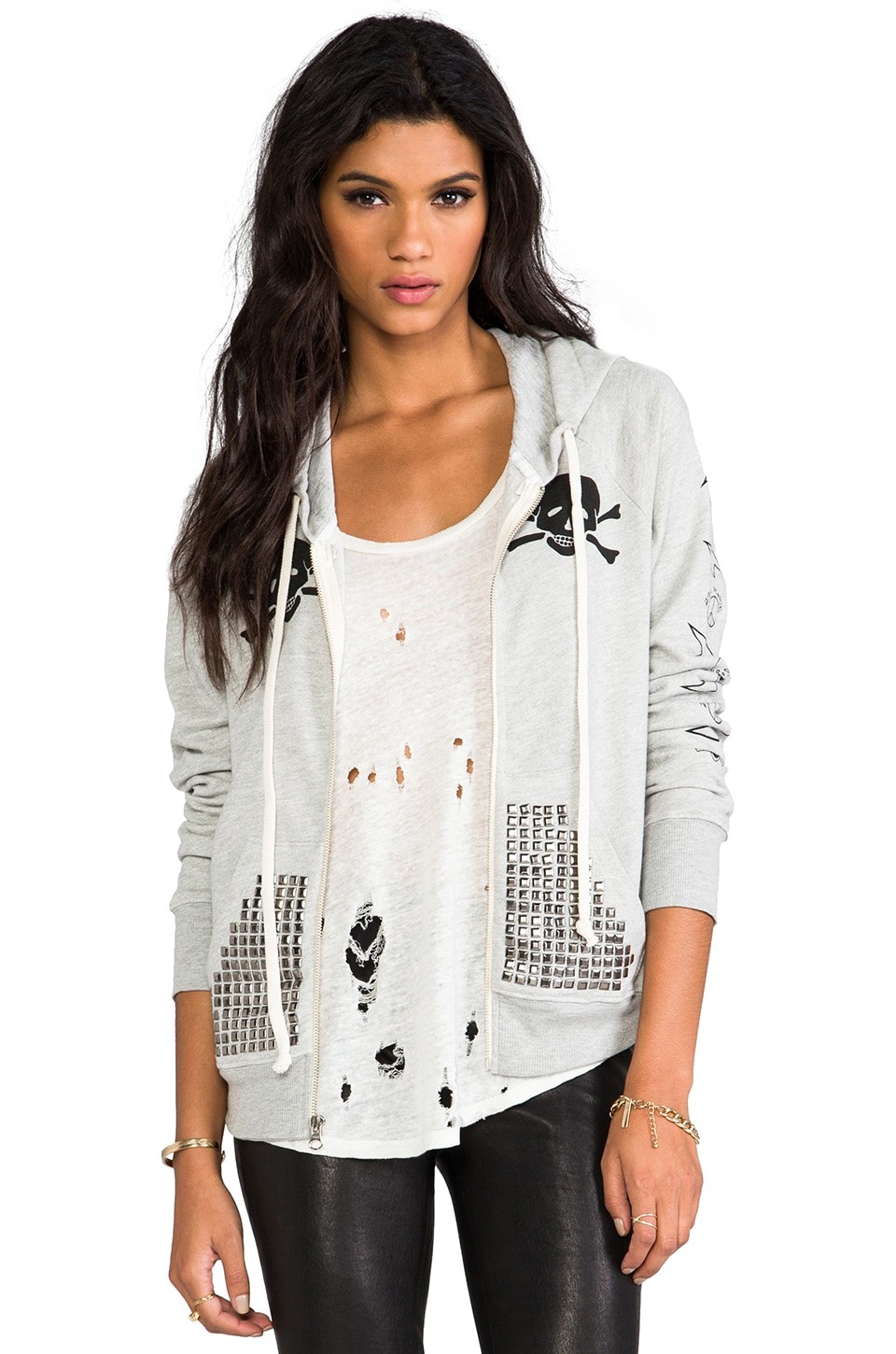 291 Skull Flag Basic Zip Hoodie in Heather Grey