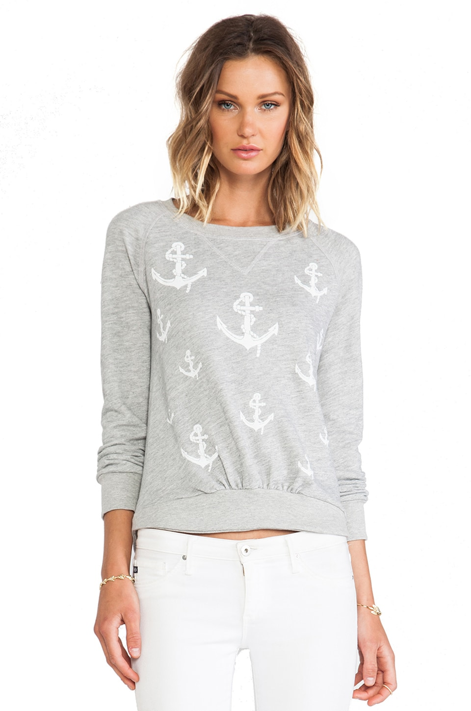 291 Anchors Pullover Crew in Heather Grey