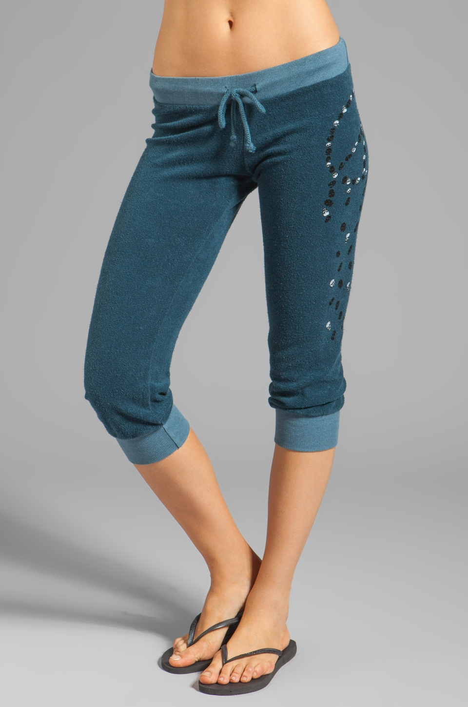 291 Peace Skull Cropped Track Pant in Ink