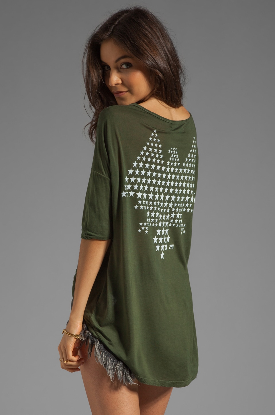 291 Freedom Wing Uneven Hem Top in Army