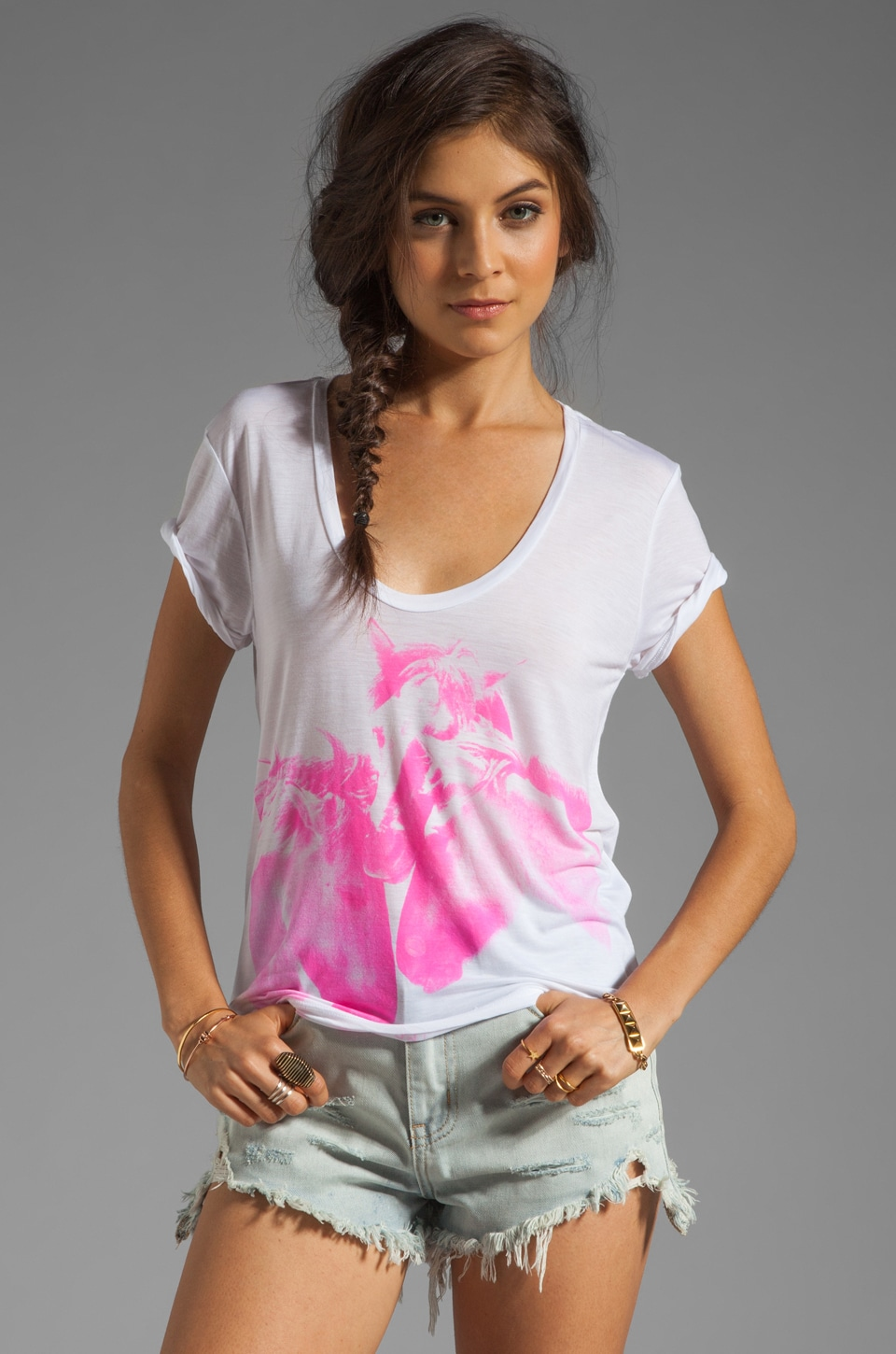 291 Wild Horses Uneven Hem Tee in White