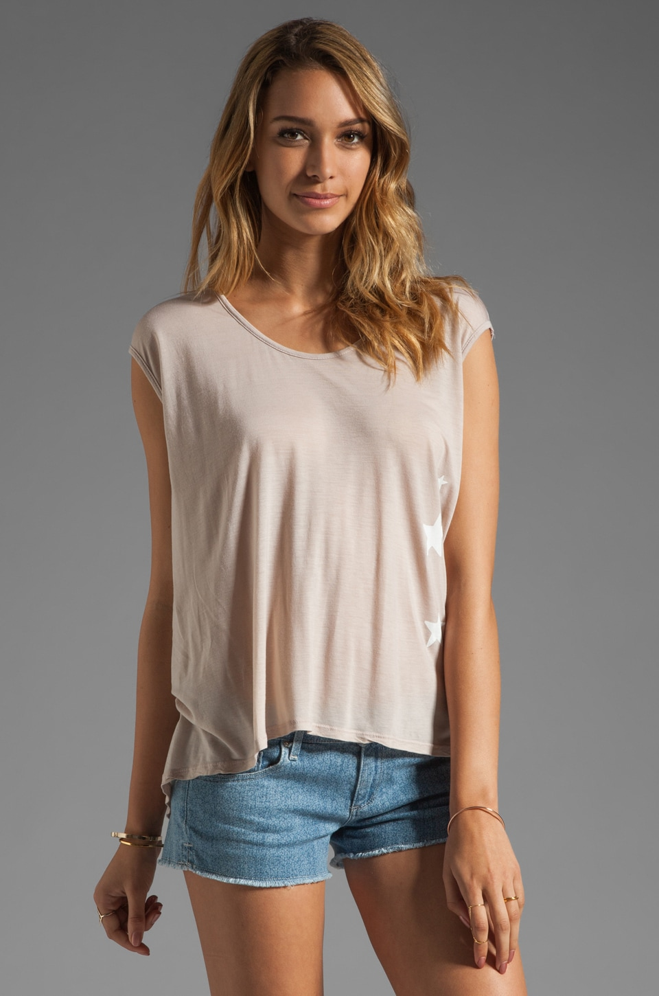 291 Side Stars Cross Back Tee in Nude
