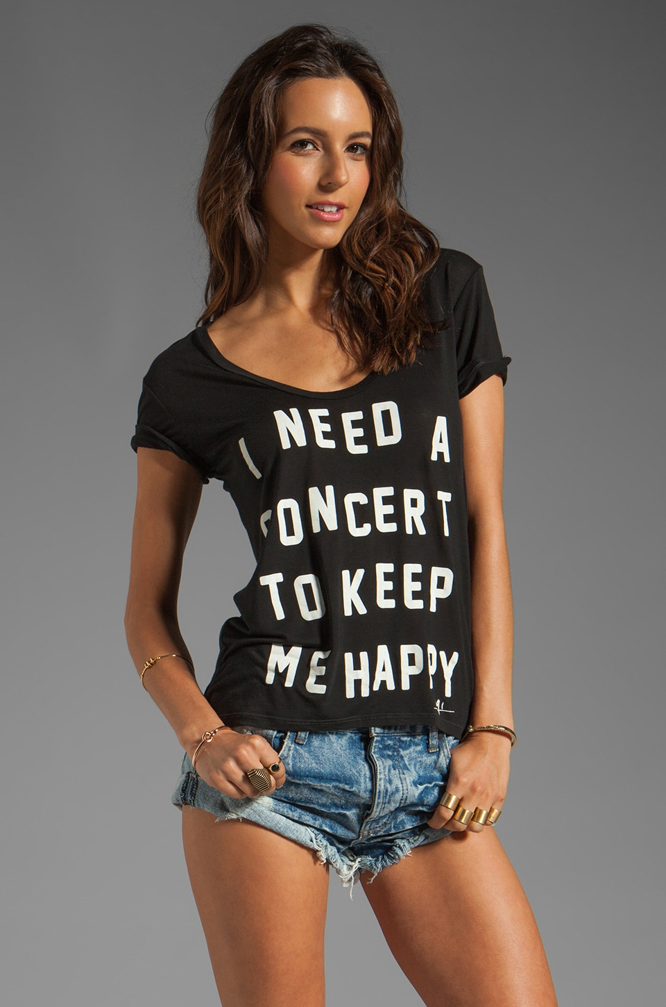 291 Concert Uneven Hem Tee in Vintage Black