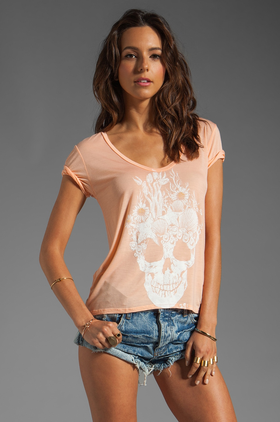 291 Sea Skull Uneven Hem Tee in Sorbet