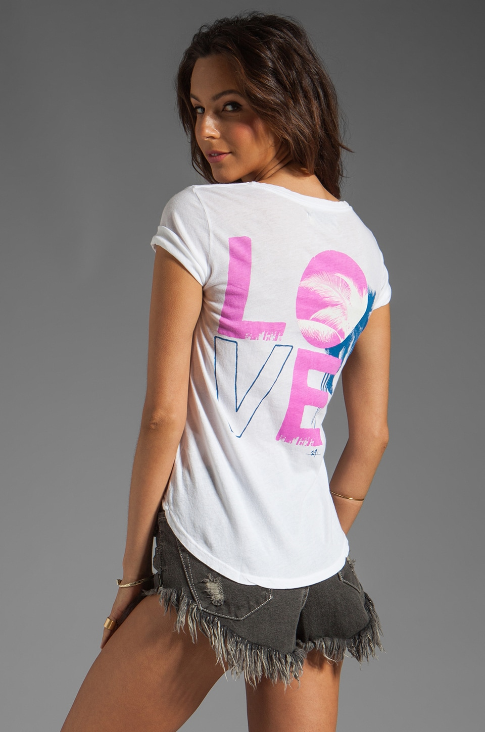 291 Love Palms Boyfriend Tee in White