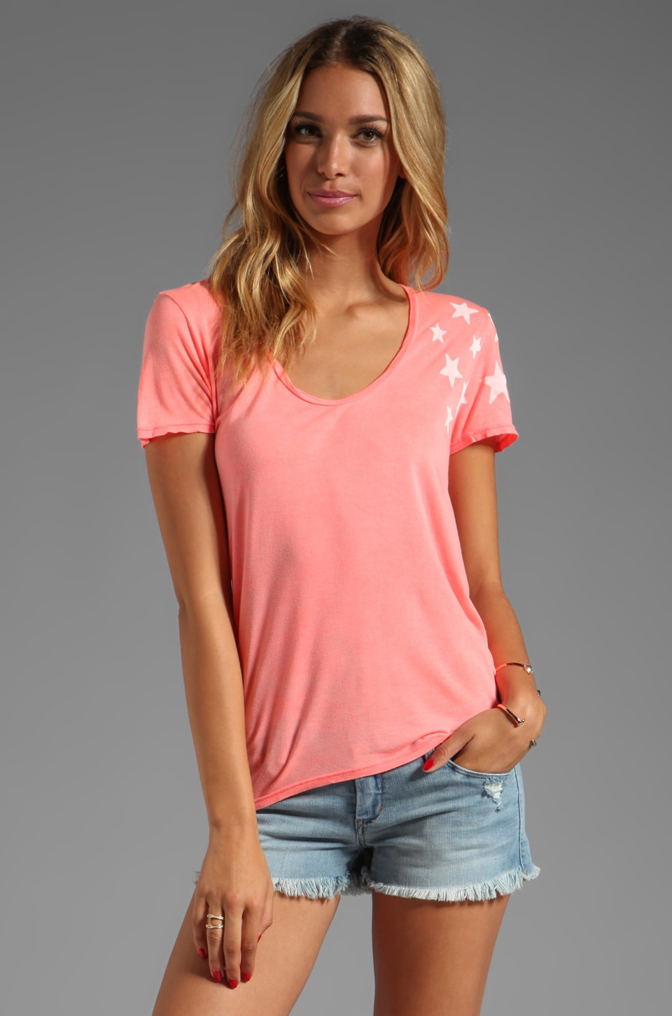 291 Dance the Night Short Sleeve Uneven Hem Tee in Hot Lava
