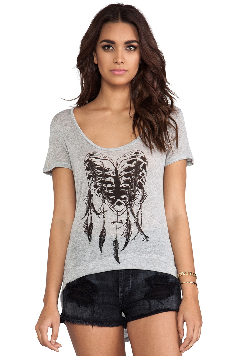 291 Heart of Bone Uneven Hem Tee in Heather Grey